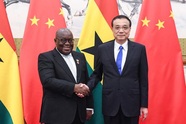 Premier Li meets with president of Ghana